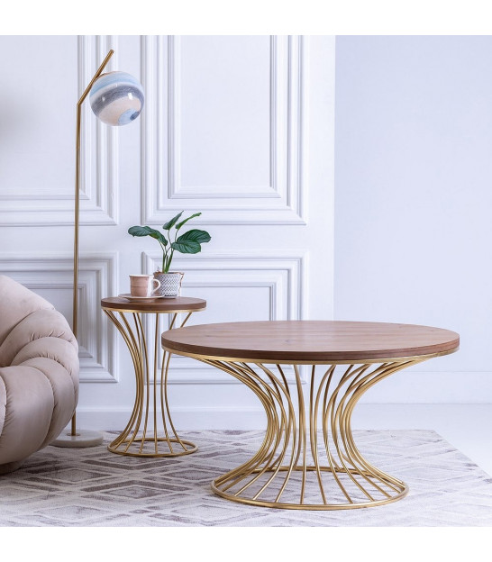 Black and Gold Metal Side Table - 40.5x77cm