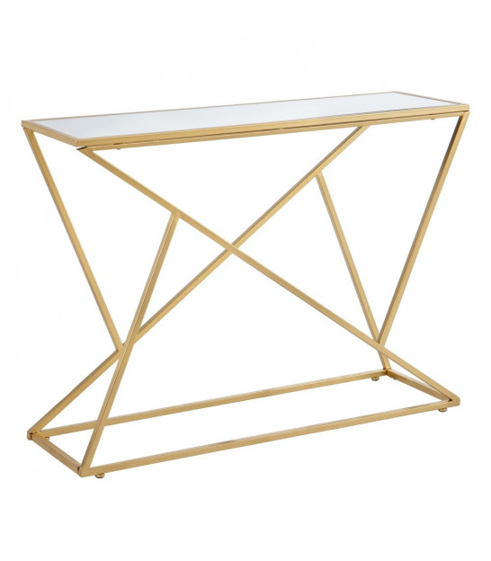 Entrance Console Golden Metal and Black Mirror - 130cm
