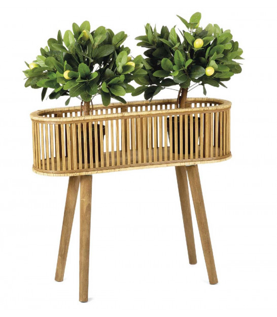 Plant Pot Stand Rattan and Wood