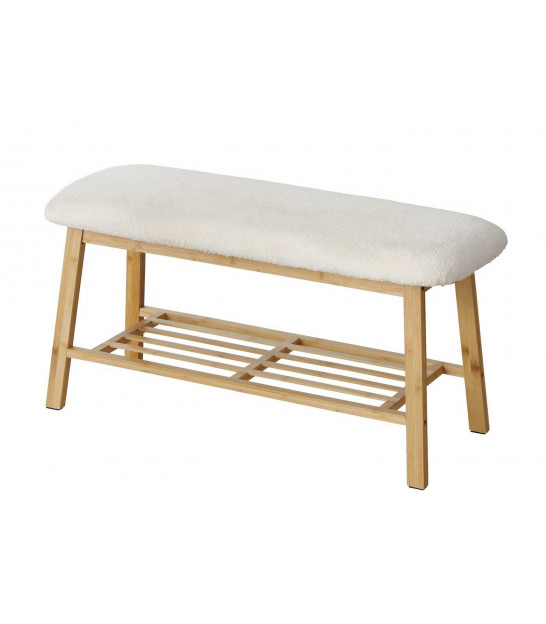 Entrance Wood Bench with Grey Tissue