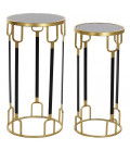 Set of 2 Gold and Black Metal Consoles + Marble