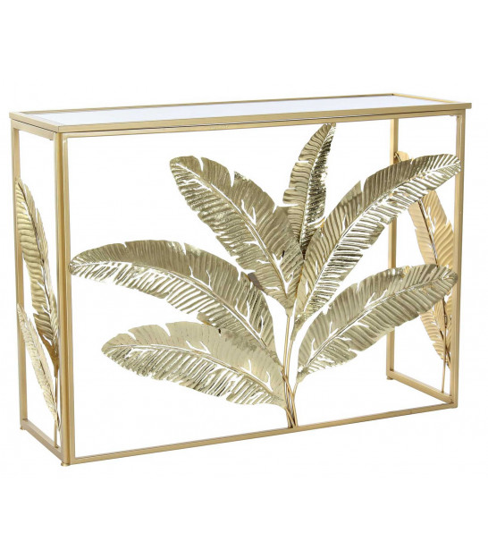 Entrance Console Golden Metal and Mirror Flowers