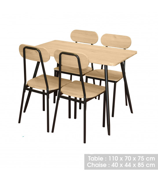 Round Dining Table Wood and Metal + 4 Chairs