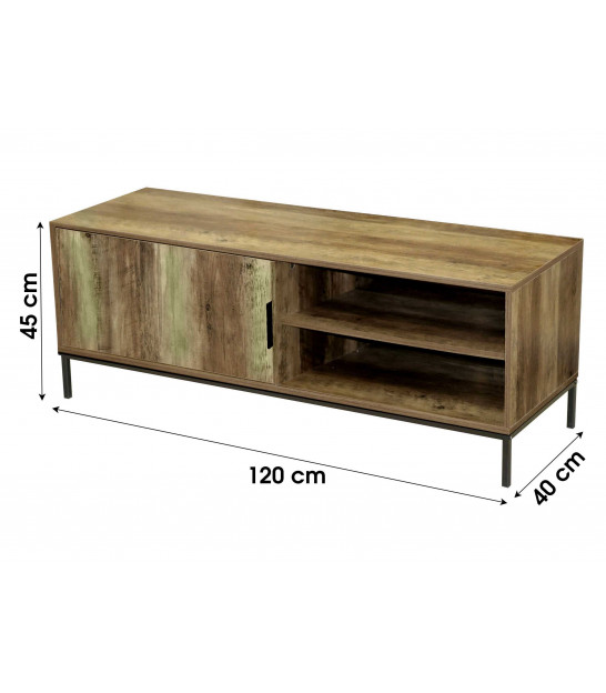TV Stand Wood and Black Metal - 140x40x50cm