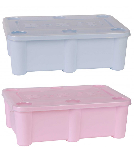 Plastic Box for Kids - Pink and Blue