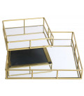 Set of 2 Golden Tray with Mirror Square - 30X30X5cm