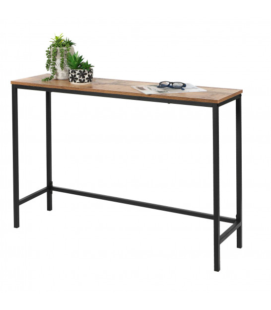 Console Table Wood MDF and Black Metal - 120cm