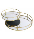 Set of 2 Golden Tray with Mirror Round
