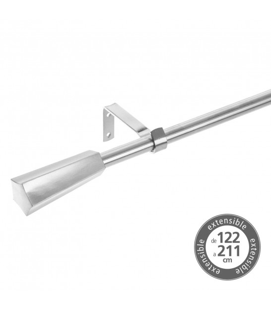 Curtain Rod Silver Metal - 122 to 211cm