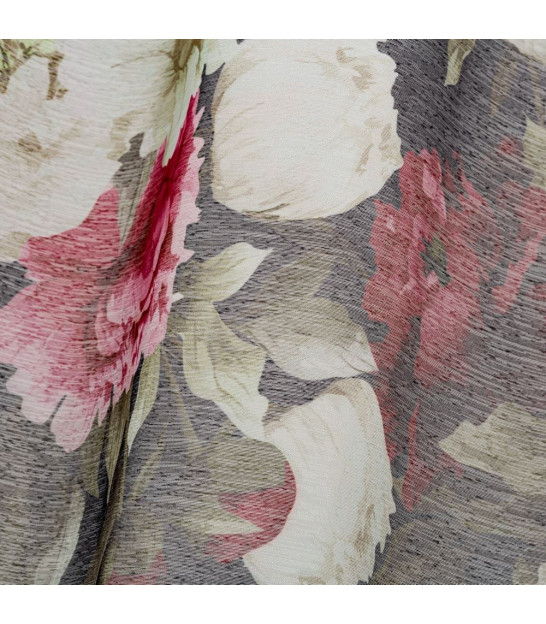 Curtain Polyester Flowers Pink - Length 260cm