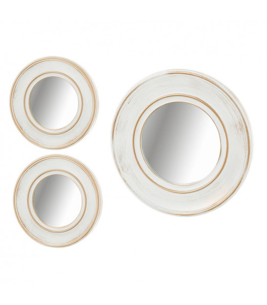 Round Wall Mirror White and Gold Molding