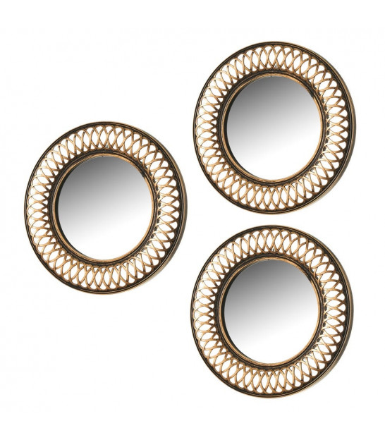 Set of 3 Round Wall Mirrors Gold Molding