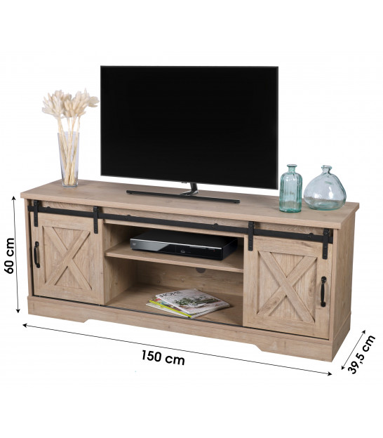 TV Stand Wood and Black Metal - 124x40x49cm