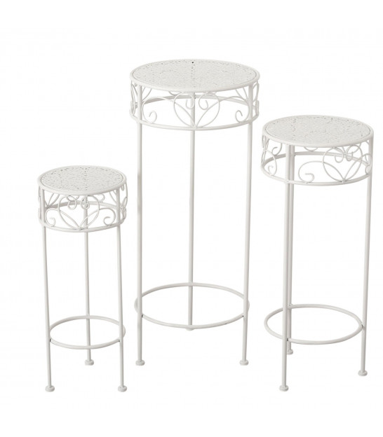 Plant Pot Stand White and Wood -set of 2