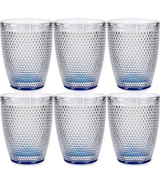 Set of 6 Water Glasses Points Turquoise