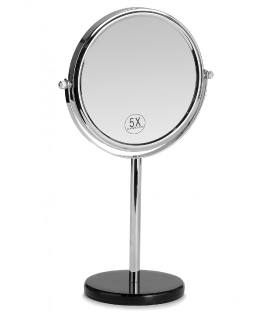 Magnifying Mirror X5 White Marble and Chrome Metal