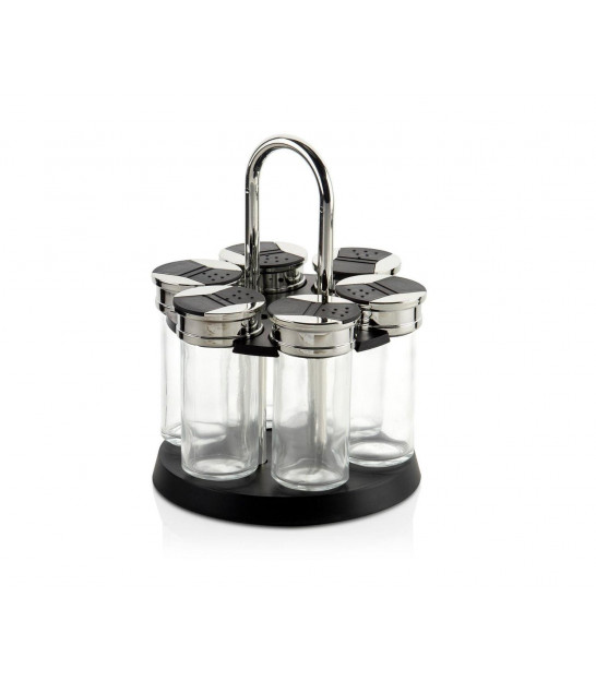Spice Rack Black Metal and 6 Glass Spice Pots