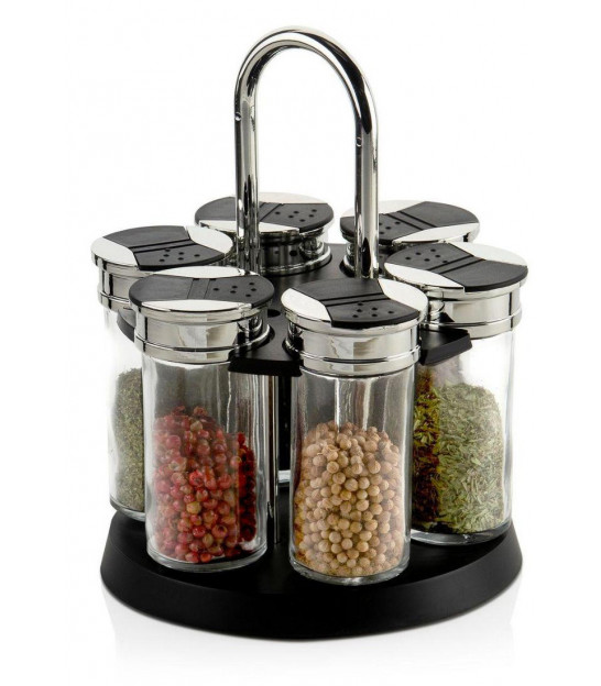 Spice Rack Black and Chrome Metal and 6 Glass Spice Pots