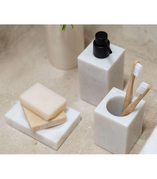 Soap Holder White Polyresine Marble Effect and Wood