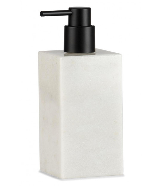 Soap Dispenser White Polyresine Marble Effect and Wood