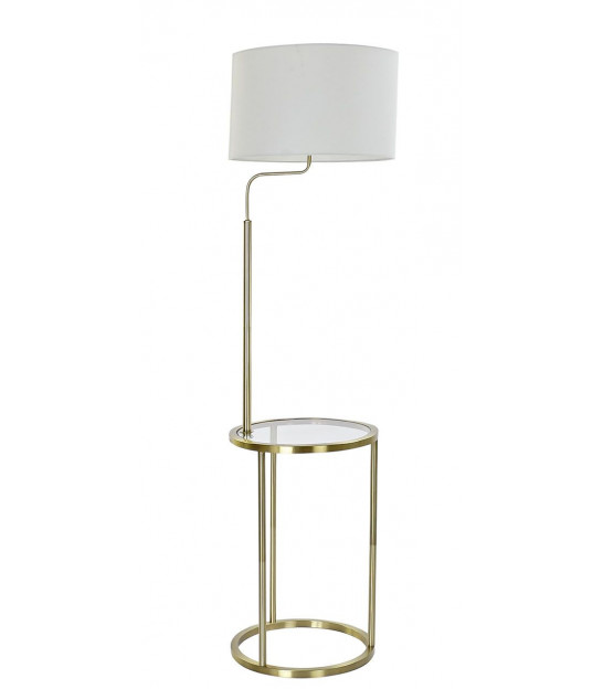 Floor Lamp Gold Metal and White Linen Lampshade