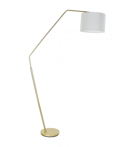 Floor Lamp Gold Metal with White Round Base