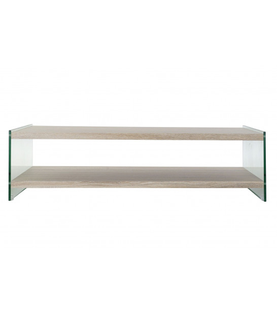 Coffee Table White Marble and Golden Brass