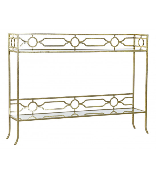 Entrance Console Golden Metal and Mirror Leaves