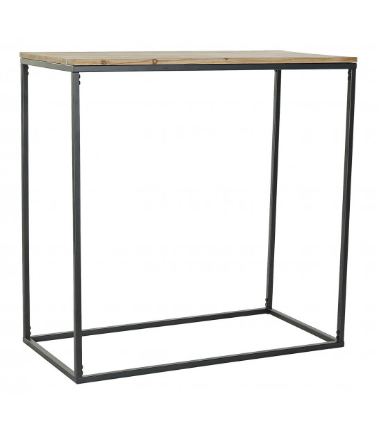 Console Table Black Metal and Pinewood