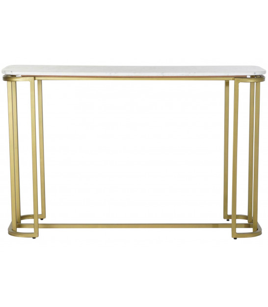 Entrance Console Golden Metal and Black Glass