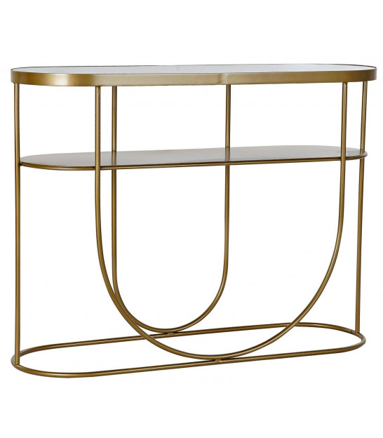 Entrance Console Golden Metal and White Marble