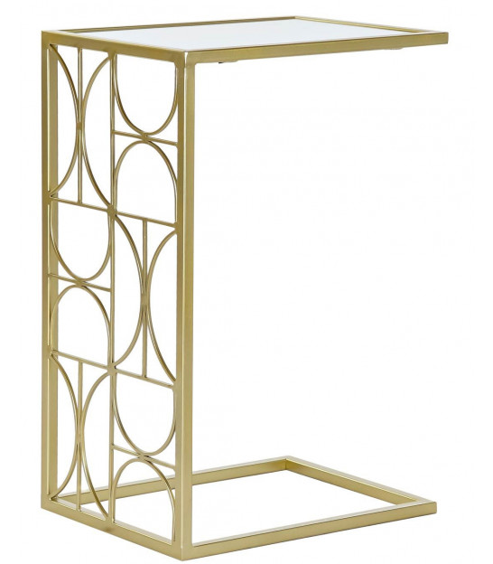 Round Side Table Golden Metal and Terrazo