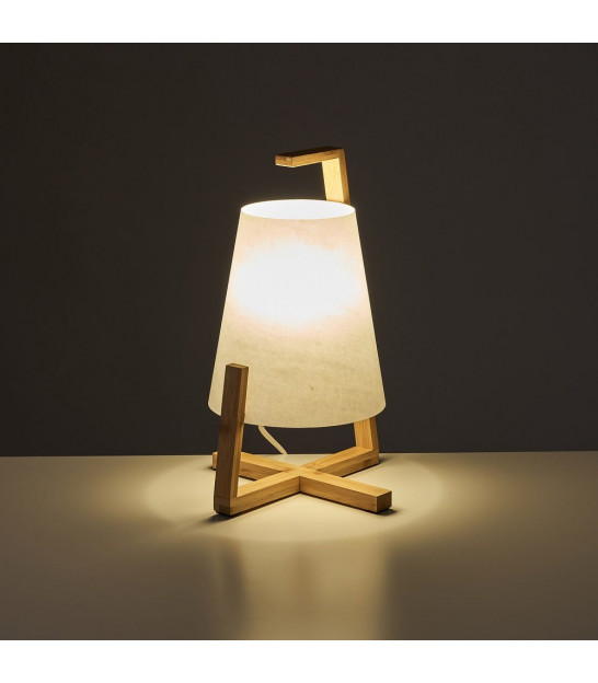 Table Lamp Bamboo and White Lampshade - H32cm
