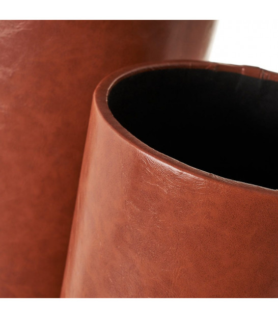 Set of 2 Umbrella Stands Brown Fake leather