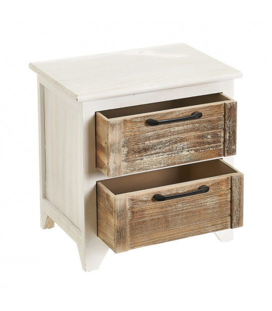 Bedside Table Wood Grey and White