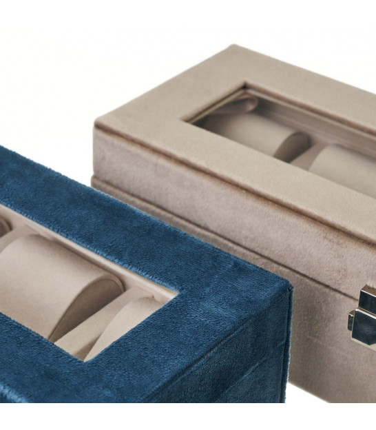 Set of 2 Jewelry boxes velvet blue and beige