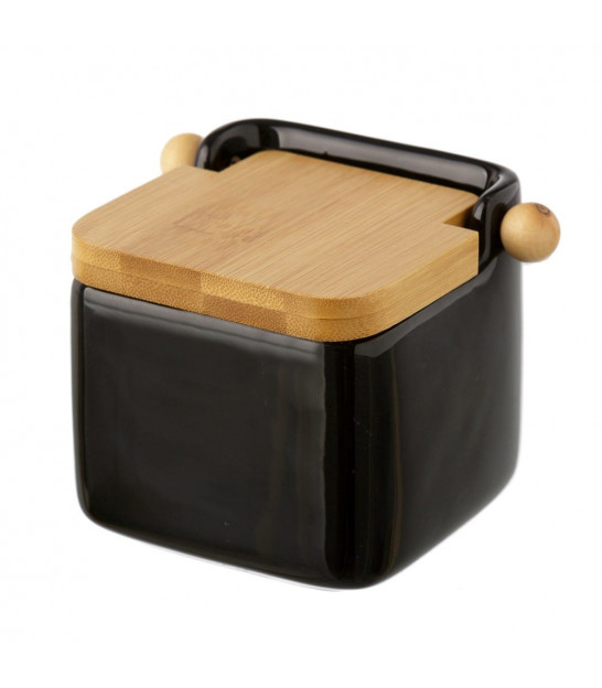 Salt Conservation Pot red ceramic and bamboo