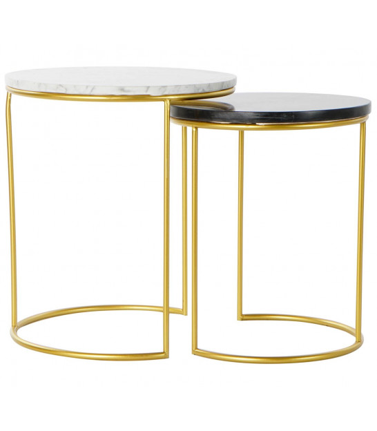 Set of 2 Low Round Tables Gold Metal and White