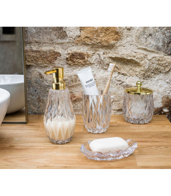 Toothbrush Holder Glass and Wood