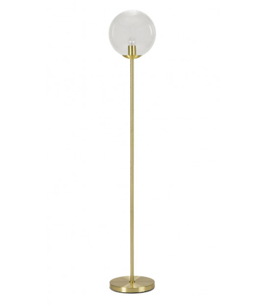Floor Lamp Gold Metal with Glass Lampshade Globe