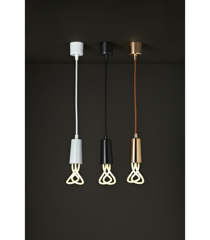 Suspension design c ble et cache douille noir plumen for Suspension design noir