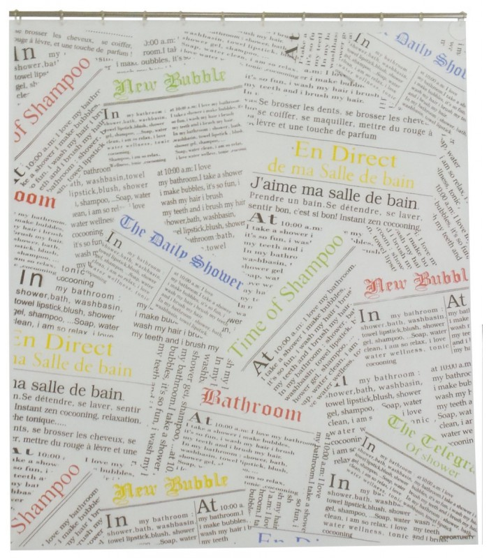Rideau de Douche Design Newspaper - 200cm x 180cm