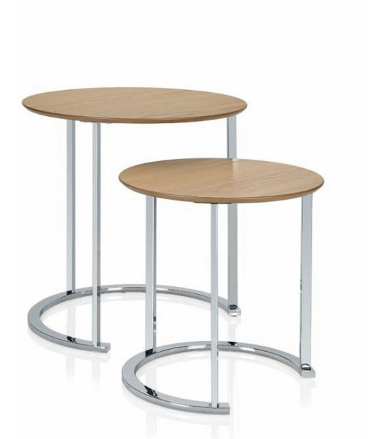 Set de 2 Tables Basse Design Rondes en Bois et Chromes - Andrea House