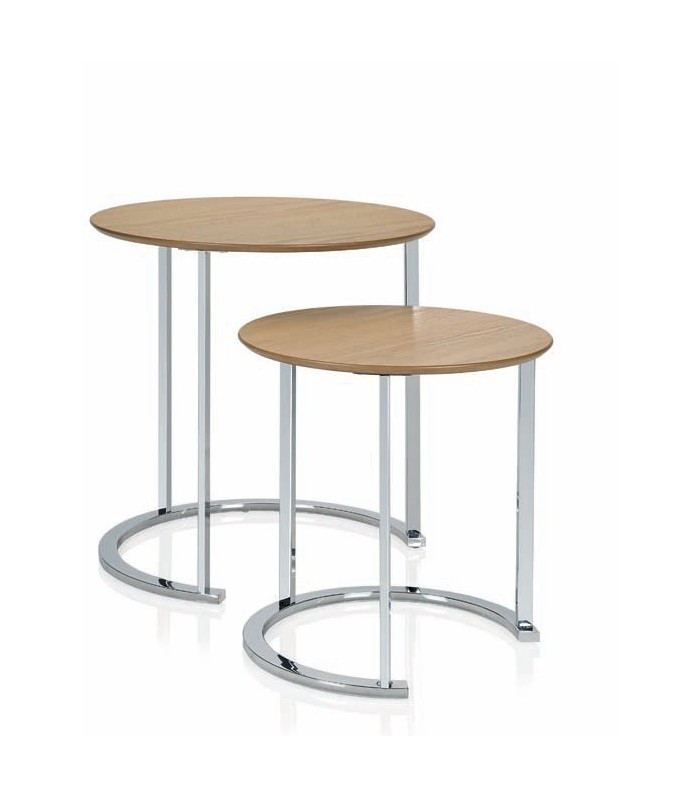Set of 2 round design coffee table made of wood and chrome - Ligne roset table basse ...