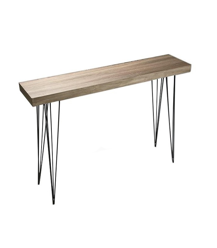 Console Etroite console table wood and black metal dallas - length 100cm - wadiga