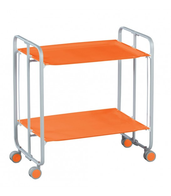 Table Roulante Pliante Orange et Châssis Gris Aluminium - 3 Positions