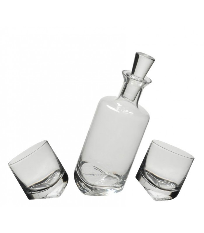 Set whisky oblique en verre transparent 2 verres for Set de table verre