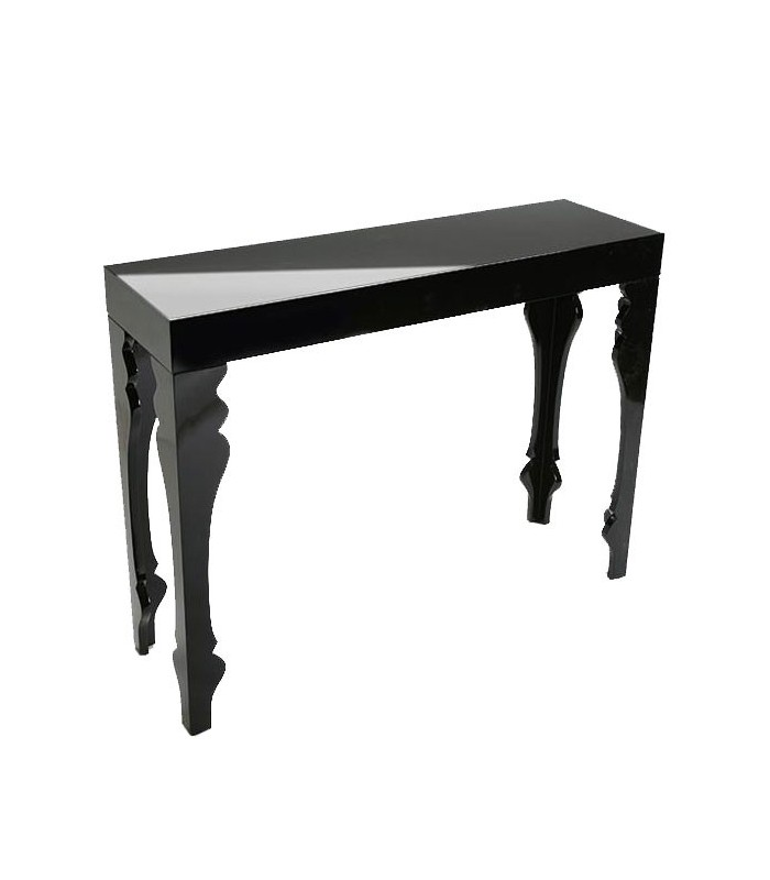 table d 39 entr e console en bois laqu noir. Black Bedroom Furniture Sets. Home Design Ideas