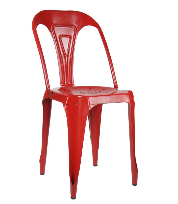 Chaise style industriel en m tal vintage rouge for Chaise metal couleur