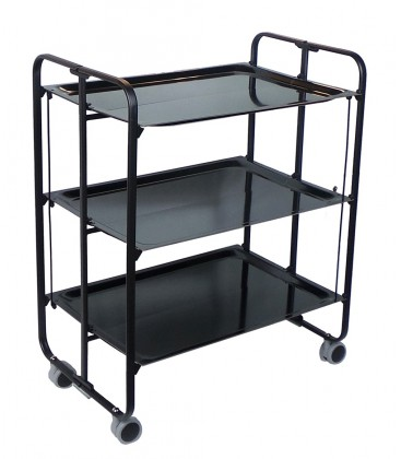 Rolling and folding table 3 shelves black frame black trays - Table pliante modulable ...